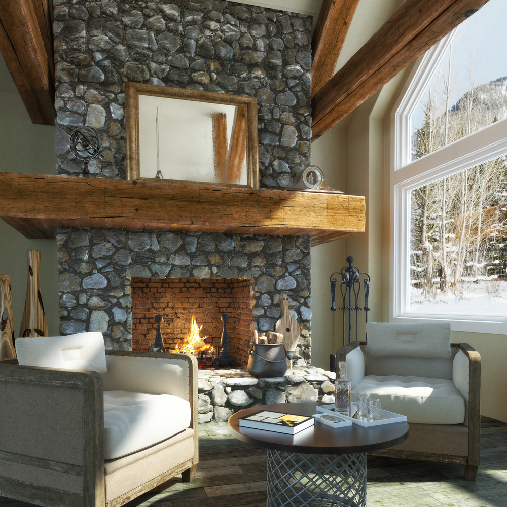 this natural stone fireplace features a chimney look inside the